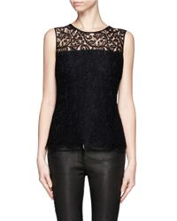 St. John - Black Lace Sleeveless Top - Lyst