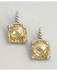 Judith Ripka | Yellow Canary Crystal Large Cushion Earrings | Lyst