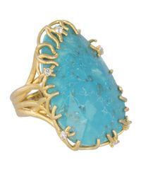 Kendra Scott - Blue Large Branch-Bezel Ring - Lyst