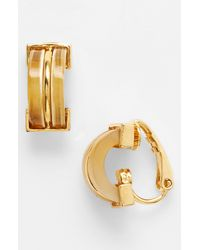 Lauren by Ralph Lauren | Metallic Horn Small Hoop Clip Earrings | Lyst