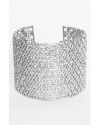 Lauren by Ralph Lauren | Metallic Crystal Mesh Wide Bracelet | Lyst