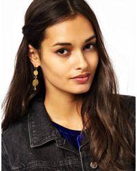ASOS - Metallic Double Drop Hammered Earrings - Lyst