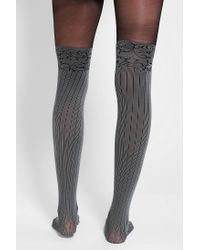 Urban Outfitters - Gray Ribbed Faux Thighhigh Tight - Lyst