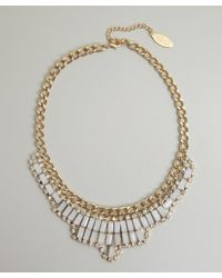 Adia Kibur | Metallic Gold and Milk Crystal Bib Necklace | Lyst