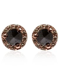 Anna Sheffield | Pink Tiny Rose Gold Diamond Rosette Stud Earrings | Lyst