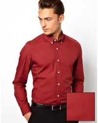 ASOS | Red Smart Shirt with Button Down Collar for Men | Lyst