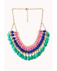 Forever 21 - Green Worldly Beaded Bib Necklace - Lyst