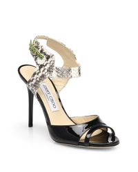 Jimmy Choo - Black Marcia Patent Leather Snake-Skin Sandals - Lyst