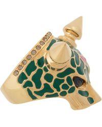 Mawi | Green Crystal Enamel Panther Ring | Lyst