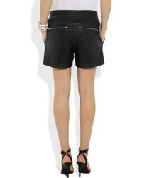 OAK - Black Rider Perforated Leather Shorts - Lyst