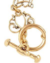 Oscar de la Renta | Metallic Goldtone Crystal Finger Bracelet | Lyst