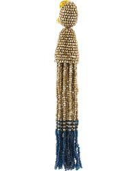 Oscar de la Renta - Metallic Beaded Tassel Clip Earrings - Lyst