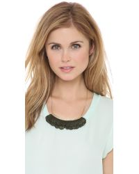 Serefina - Green Feather Bib Necklace - Lyst