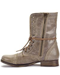 Steve Madden | Brown Troopa - Stone Leather Combat Boot | Lyst