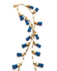 Tory Burch - Metallic Leather Tassel Paillette Necklace - Lyst