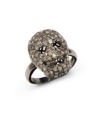 Bavna | Metallic Pave Diamond Blackened Sterling Silver Skull Ring | Lyst