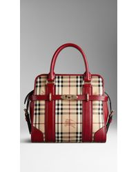 Lyst - Burberry Medium Haymarket Check Portrait Tote Bag in Natural f1d6dc9a9ed39