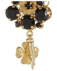 Dolce & Gabbana | Metallic Pizzo Nero Goldplated Swarovski Crystal Clip Earrings | Lyst