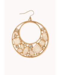Forever 21 - White Opulent Cutout Drop Earrings - Lyst