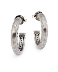 Judith Ripka - Metallic Sterling Silver Ottoman Hoop Earrings - Lyst