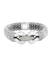 Lagos | Metallic Derby Pave Diamond Bracelet 18mm | Lyst