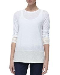 Vince | White Two Tone Slub Top | Lyst