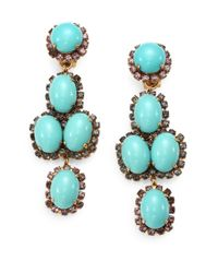 Erickson Beamon | Metallic Glenda Swarovski Crystal Clipon Drop Earrings | Lyst