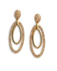 Judith Leiber - Metallic Ellipse Swarovski Crystal Drop Earrings - Lyst