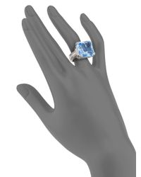 Judith Ripka - Blue Faceted Square Stone Sterling Silver Ring - Lyst