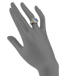 Judith Ripka - Blue Square Stone Sterling Silver 18k Yellow Gold Ring - Lyst