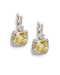 Judith Ripka - Metallic White Sapphireframed Sterling Silver Yellow Cushion Earrings - Lyst