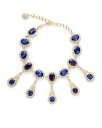 Kenneth Jay Lane - Blue Jeweled Drop Necklace - Lyst