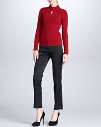 Ralph Lauren Black Label | Red Twist Front Cashmere Cable Knit Top  | Lyst