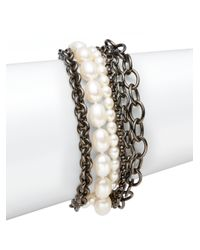 Slane | Gray 7mm8mm Oval Freshwater Pearl Blackened Sterling Silver Chain Bracelet | Lyst