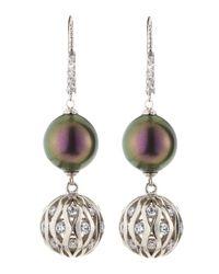 Majorica - Purple Tahitian Pearl and Cz Cage Earrings - Lyst