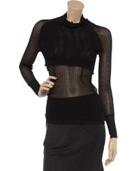 Alexander Wang - Black Double-layer Open-knit Sweater - Lyst