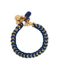 Brooks Brothers | Blue Metal Link Bracelet With Woven Ribbon | Lyst