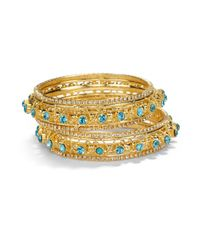 Chamak by Priya Kakkar - Metallic Twotone Crystal Wrapped Bangle Bracelet Set - Lyst