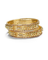 Chamak by Priya Kakkar - Crystal Sectioned Bangle Bracelet Set Purple - Lyst