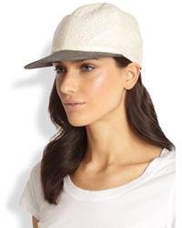 Eugenia Kim - Natural Darien Eyelet Suede Baseball Hat - Lyst