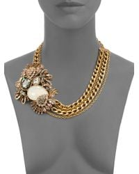 Judith Leiber - Metallic Lulu Crystal Cluster Necklace - Lyst