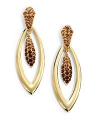 Judith Leiber - Metallic Pavã Crystal Torpedo Earrings - Lyst