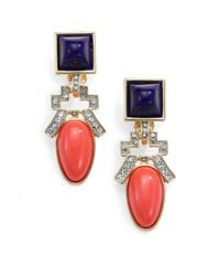 Kenneth Jay Lane | Red Deco Clipon Drop Earrings | Lyst