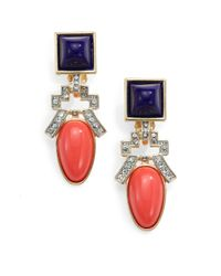 Kenneth Jay Lane - Red Deco Clipon Drop Earrings - Lyst