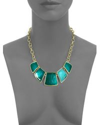Kenneth Jay Lane - Metallic Geometric Bib Necklace - Lyst