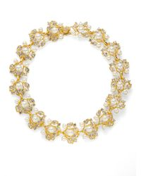 Kenneth Jay Lane | Metallic Faux Pearl Jeweled Vine Necklace | Lyst