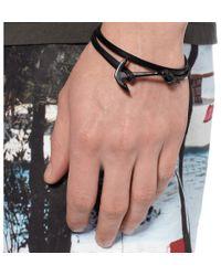 Miansai - Black Leather and Enamel Anchor Wrap Bracelet for Men - Lyst
