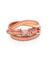 Michael Kors - Pink Pythonembossed Leather Wrap Bracelet - Lyst
