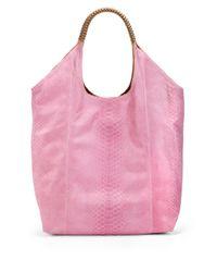 Nada Sawaya | Pink Cherina Python Large Shoulder Bag | Lyst