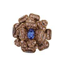 Oscar de la Renta | Blue Flower Brooch With Chain | Lyst
